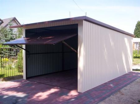 Garaż 5x3 Premium uchylny   kość słoniowa -brąz